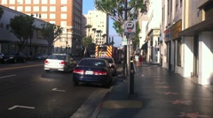 Los Angeles Fire Department firetruck departs from Stock Footage