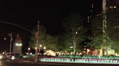 NEW YORK CITY - Camera pans from left to light - shot of Columbus Circle Stock Footage