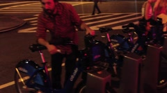 NEW YORK CITY - JULY 2013:  Residents leave bars and check out the new Citi Bike Stock Footage