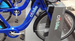 NEW YORK CITY - SEPT 2013:  Series of bikes in holding station - Citi Bike Stock Footage