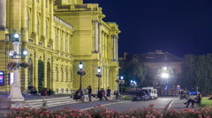 The building of the Croatian National Theater night timelapse. Croatia, Zagreb Stock Footage