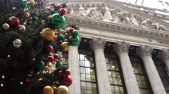 NEW YORK CITY - DECEMBER 2013: A Christmas tree is set up outside the New York Stock Footage