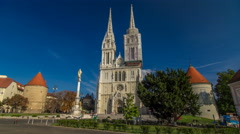 Zagreb Cathedral timelapse hyperlapse and Monument called Maria's pillar. ZAGREB Stock Footage
