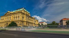 The building of the Croatian National Theater timelapse hyperlapse. Croatia Stock Footage