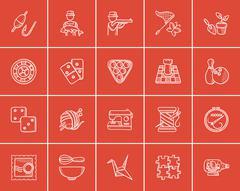 Hobby sketch icon set Stock Illustration