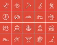 Mining industry sketch icon set Piirros