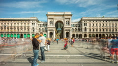 Day galleria vittorio emanuele duomo square panorama 4k time lapse milan italy Stock Footage