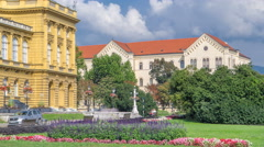 The building of the Croatian National Theater timelapse. Croatia, Zagreb Stock Footage