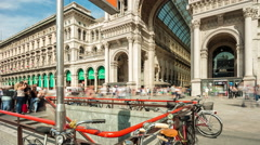 Day milan duomo square galleria mall intrance 4k time lapse italy Stock Footage