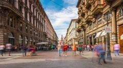 Milan day light dante street panorama 4k time lapse italy Stock Footage