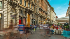Milan center day dante street panorama 4k time lapse italy Stock Footage