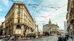 Day milan center cordusio square panorama 4k time lapse italy Stock Footage