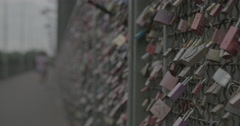 Love Locks on Hohenzollern Bridge - Cologne, Germany (Köln) - 4K Stock Footage
