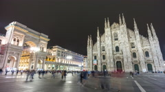 Night duomo cathedral square galleria mall panorama 4k time lapse milan italy Stock Footage