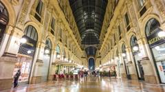 Galleria vittorio emanuele night walking panorama 4k time lapse milan italy Stock Footage