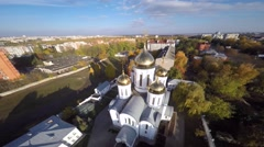 Aerial view of orthodox church in Ukraine Stock Footage
