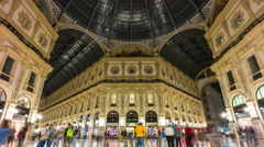 Night galleria vittorio emanuele center panorama 4k time lapse milan italy Stock Footage