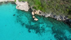 Aerial overview of Grote Knip beach, Curacao Stock Footage