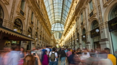 Day milan galleria vittorio emanuele crowded panorama 4k time lapse italy Stock Footage