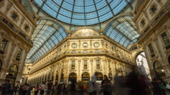 Sunny milan galleria vittorio emanuele center panorama 4k time lapse italy Stock Footage