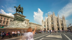 Milan sunny day duomo cathedral square panorama 4k time lapse italy Stock Footage