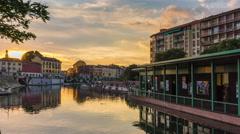 Sunset milan darsena canal bridge panorama 4k time lapse italy Stock Footage