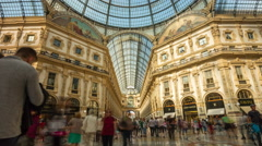 Milan light galleria vittorio emanuele centre panorama 4k time lapse italy Stock Footage