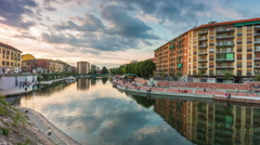 Sunset sky milan darsena canal side panorama 4k time lapse italy Stock Footage