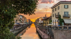 Milan sunset ripa di porta ticinese grand canal panorama 4k time lapse italy Stock Footage