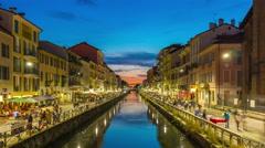 Sunset milan ripa di porta ticinese grande canal panorama 4k time lapse italy Stock Footage
