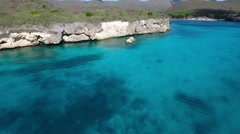 Aerial of cliffs and Grote Knip beach in background on Curacao Stock Footage