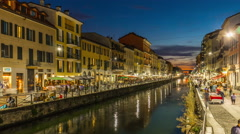 Sunset milan ripa di porta ticinese grand canal panorama 4k time lapse italy Stock Footage