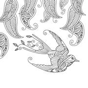 Coloring page with beautiful flying bird and willow leafs Stock Illustration