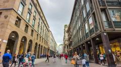 Day milan centre corso vittorio emanuele walking panorama 4k time lapse italy Stock Footage