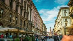 Sunny sky milan via dante street crowded walking panorama 4k time lapse italy Stock Footage