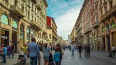 Day milan via dante street crowded walking panorama 4k time lapse italy Stock Footage