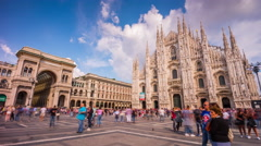 Milan sunny day duomo cathedral galleria square panorama 4k time lapse italy Stock Footage