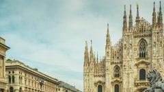 Day milan duomo cathedral front panorama 4k time lapse italy Stock Footage