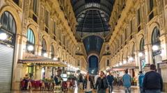 Night milan gallery vittorio emanuele walking panorama 4k time lapse italy Stock Footage