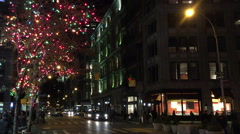 NEW YORK CITY: A Christmas holiday tree is lit up along the Stock Footage