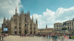 Sky day milan duomo cathedral front panorama 4k time lapse italy Stock Footage
