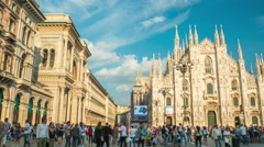 Sunny day milan duomo cathedral front crowded panorama 4k time lapse italy Stock Footage