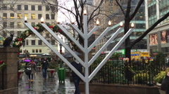 NEW YORK CITY: Lit up Menorah in Greeley Square in midtown Stock Footage