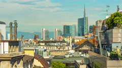 Day milan downtown rooftop panorama 4k time lapse italy Stock Footage