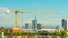 Day milan downtown construction rooftop panorama 4k time lapse italy Stock Footage
