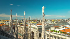Day milan duomo cathedral rooftop view point panorama 4k time lapse italy Stock Footage