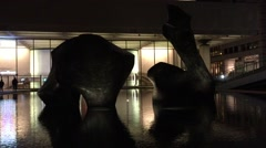 NEW YORK CITY: Nightime shot of Henry Moore sculpture and Stock Footage