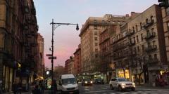 NEW YORK CITY: Dusk nightime establishing shot of Upper West Stock Footage