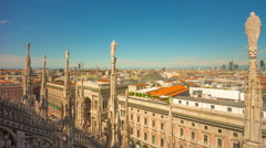 Day milan duomo rooftop gallery vittorio emanuele 4k time lapse italy Stock Footage