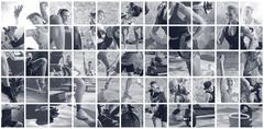 Collage of sport photos with people Stock Photos